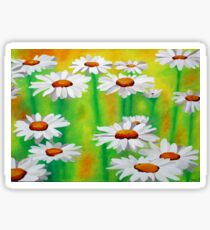 White Daisies On A Yellow And Green Summery Background Sticker