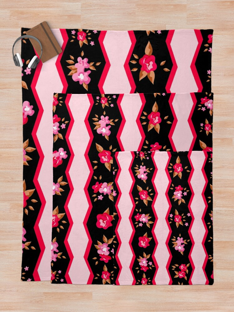 Alternate view of Cute Girly Country Flowers Striped Floral Print Throw Blanket