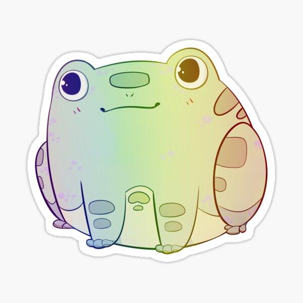 Chibi Frog Sitting - Pastel Rainbow Sticker