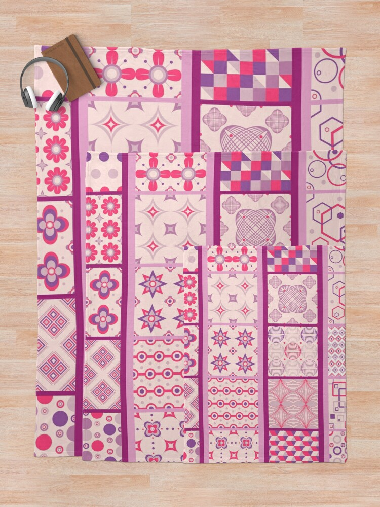 Alternate view of Glimpse of Bohemia Patchwork Country Quilt Print Throw Blanket