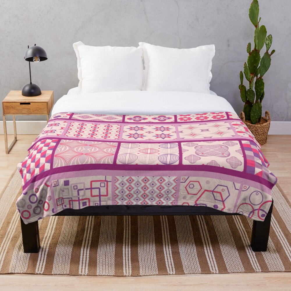 Glimpse of Bohemia Patchwork Country Quilt Print Throw Blanket