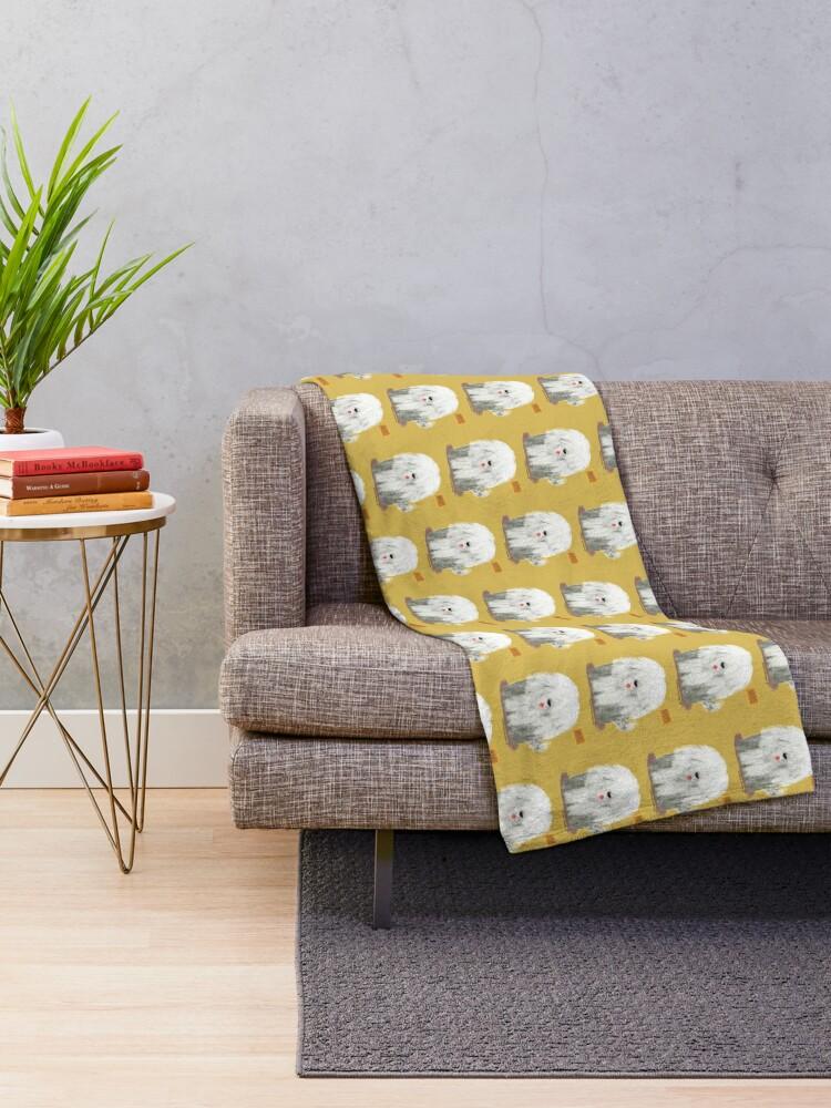 Alternate view of Old English Sheepdog Throw Blanket
