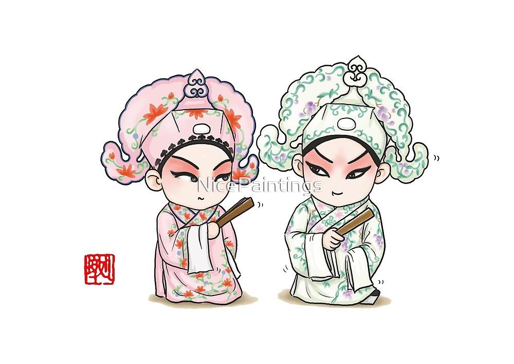 Chinese Opera Character - Liang and Zhu by NicePaintings