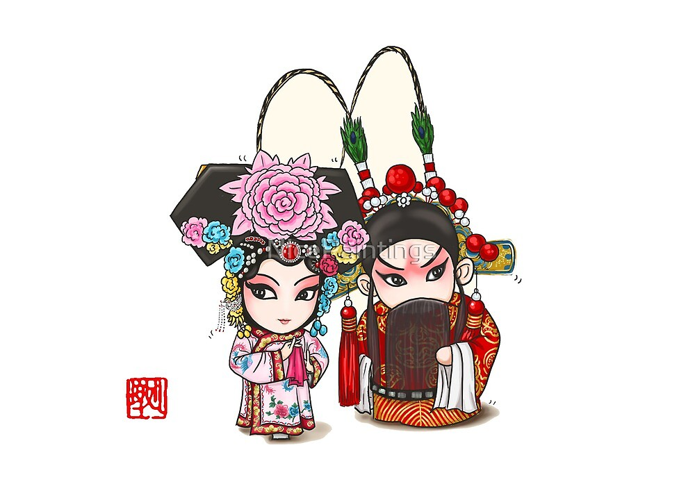 Chinese Opera Character - Mr and Mrs Yang by NicePaintings