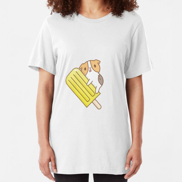 Guinea pig and yellow ice pop  Slim Fit T-Shirt