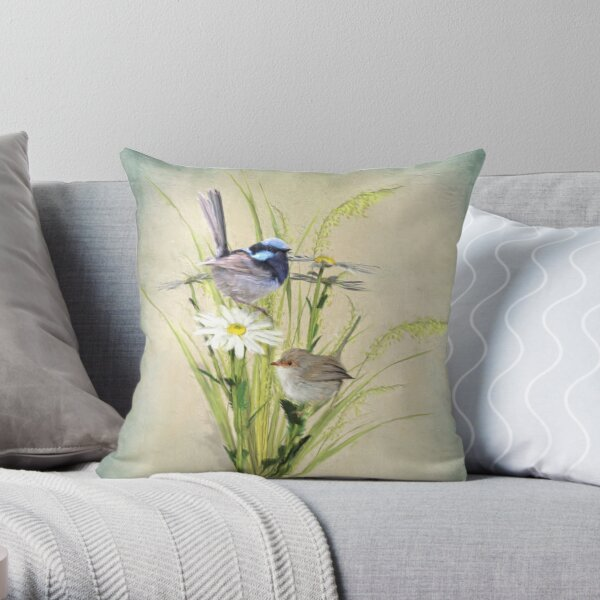 Little Fairy Wrens Throw Pillow