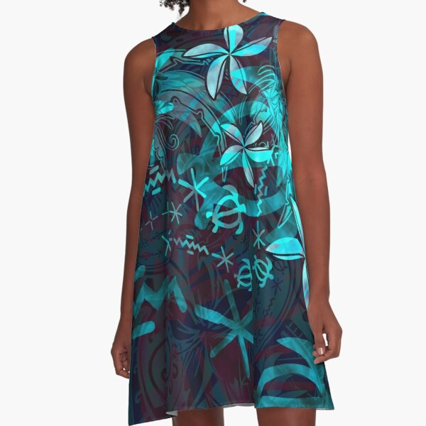 Hawaiian - Polynesian Tropical Abstract A-Line Dress