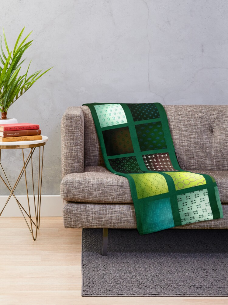 Alternate view of Green Bohemian Contemporary Tile Print Throw Blanket