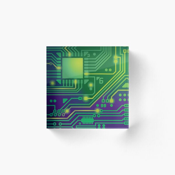 Computers Technology Digital Circuit Print Acrylic Block