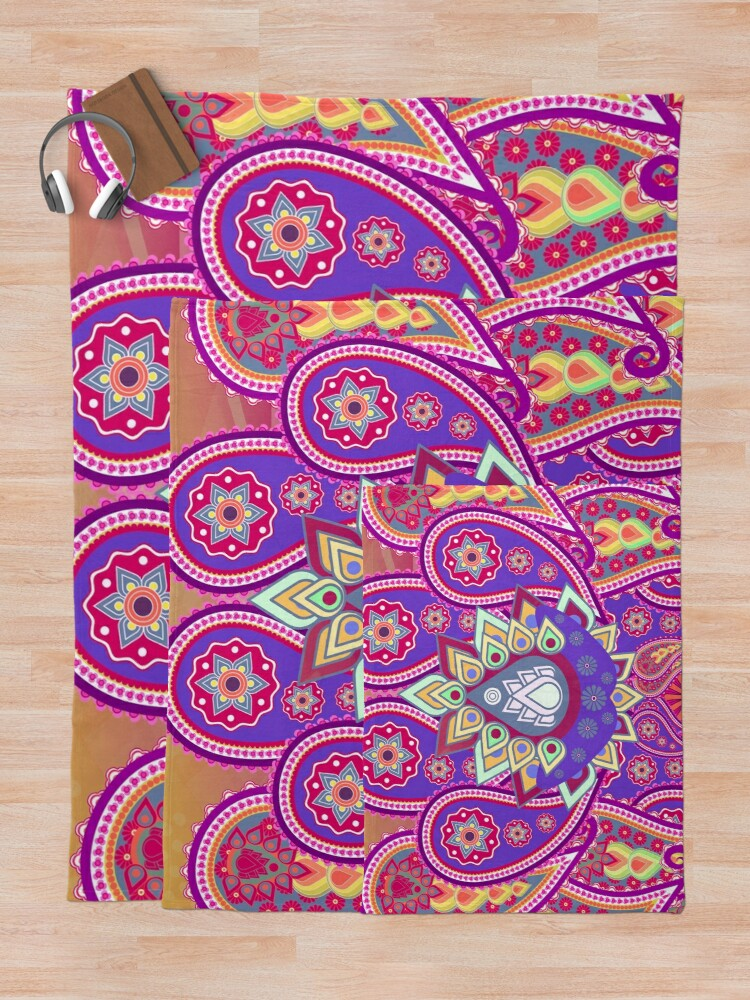 Alternate view of Psychedelic Paisley Colorful Floral print Throw Blanket
