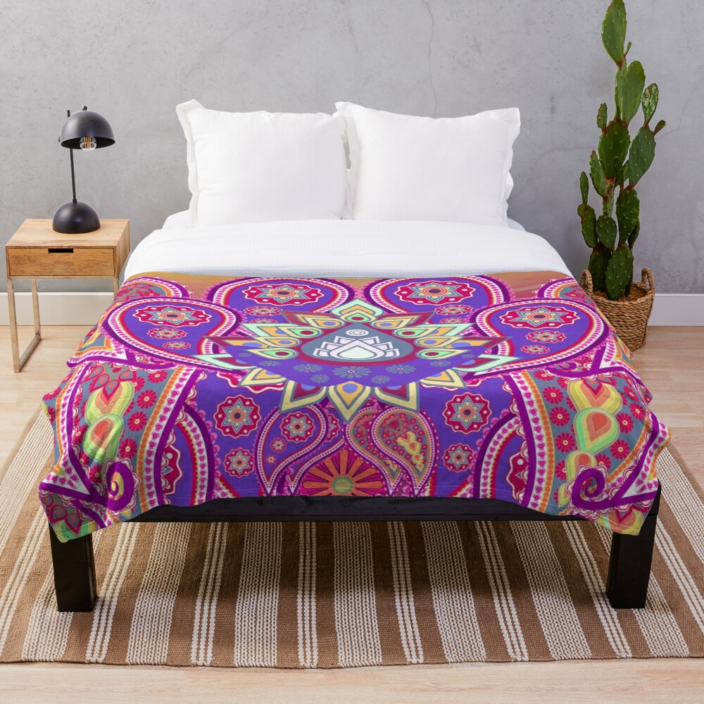Psychedelic Paisley Colorful Floral print Throw Blanket