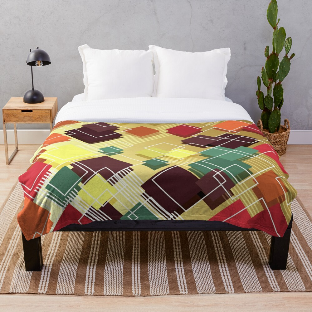 Eclectic Funky Art Deco Modern Throw Blanket