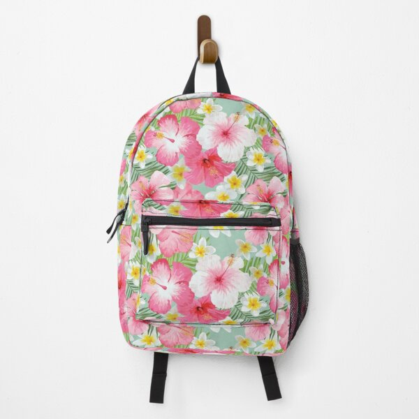 Tropical Hibiscus and Plumeria Flowers  Backpack