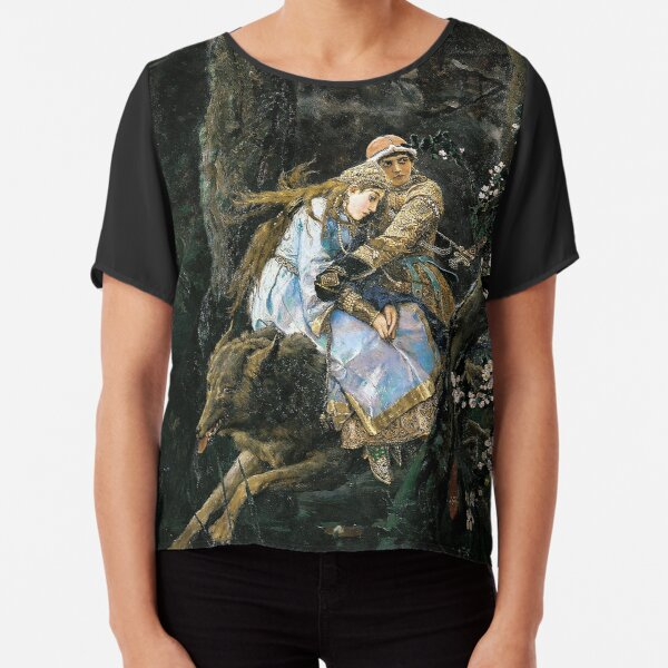 Ivan Tsarevich Riding the Grey Wolf - Viktor Vasnetsov - 1889 Chiffon Top