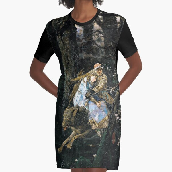 Ivan Tsarevich Riding the Grey Wolf - Viktor Vasnetsov - 1889 Graphic T-Shirt Dress