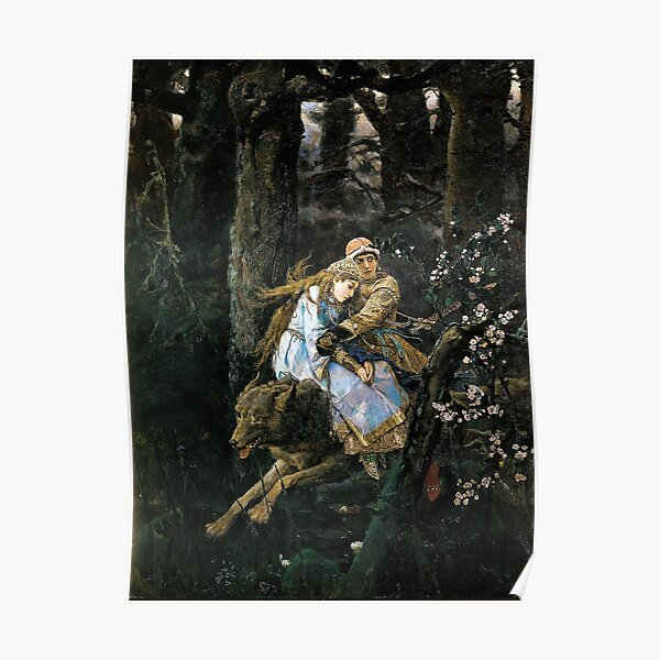 Ivan Tsarevich Riding the Grey Wolf - Viktor Vasnetsov - 1889 Poster