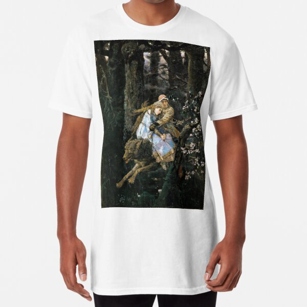 Ivan Tsarevich Riding the Grey Wolf - Viktor Vasnetsov - 1889 Long T-Shirt