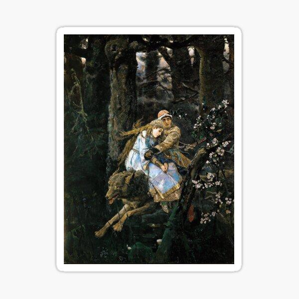 Ivan Tsarevich Riding the Grey Wolf - Viktor Vasnetsov - 1889 Sticker