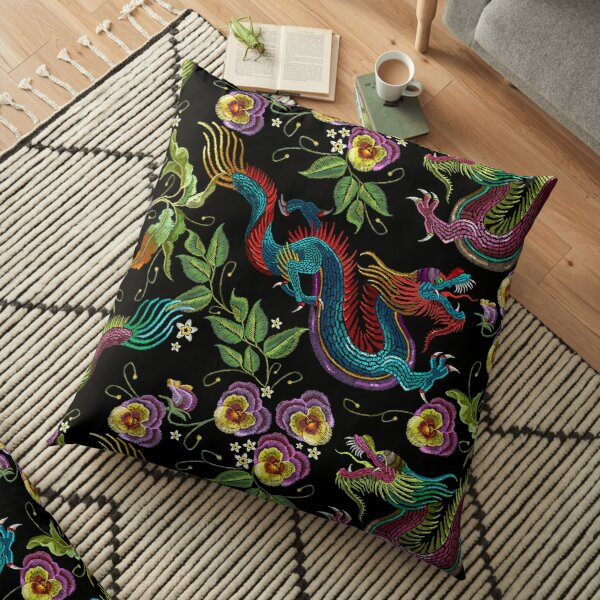 Embroidery asian dragons Floor Pillow