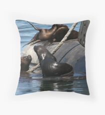 Sea Lions fun by the old submarine!!! Throw Pillow