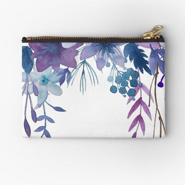 Blue Purple Flowers Zipper Pouch