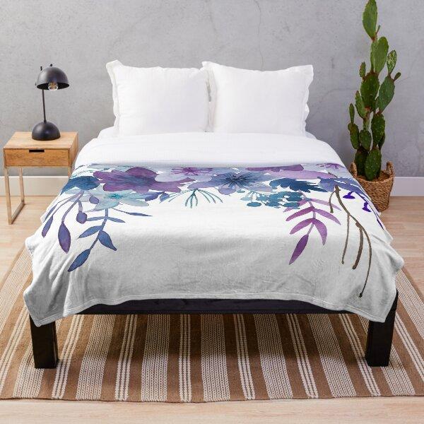 Blue Purple Flowers Throw Blanket