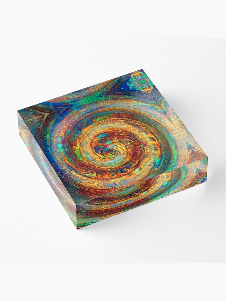 Alternate view of Abstractions of abstract abstraction of colorful spiral Acrylic Block