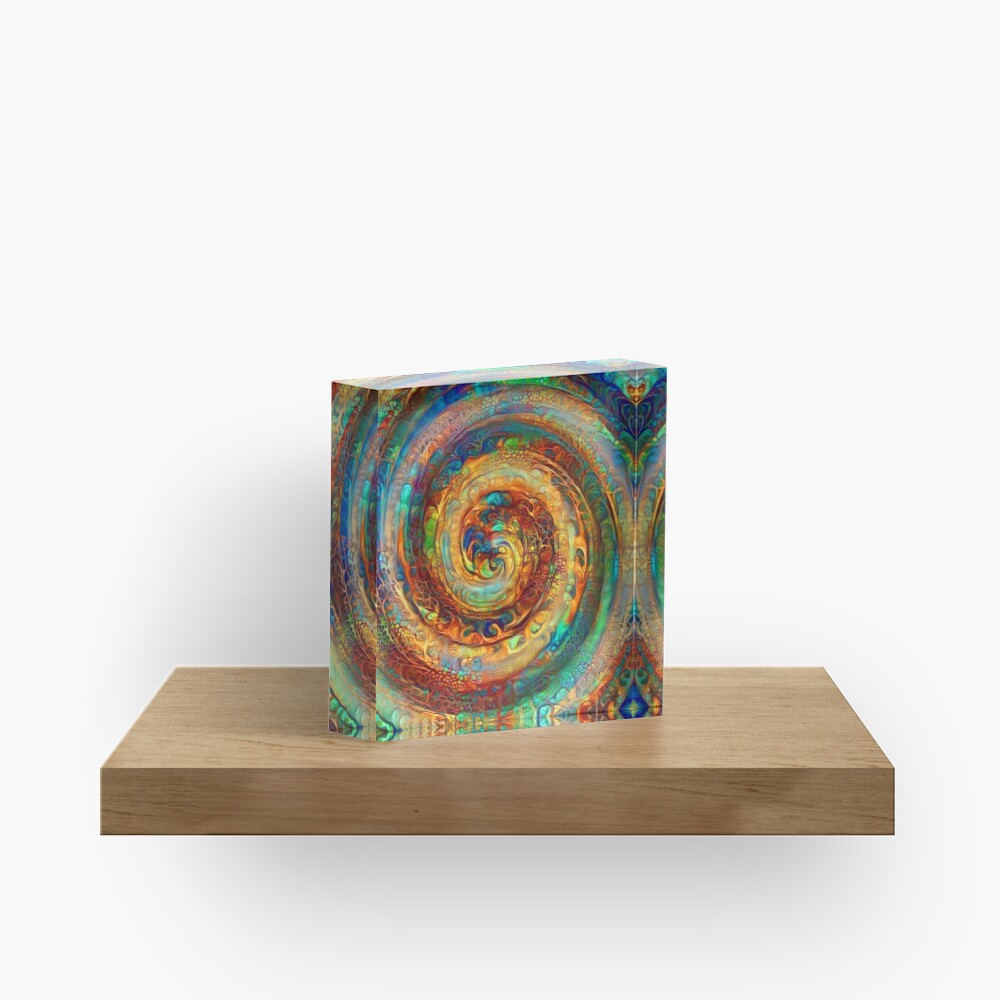 Abstractions of abstract abstraction of colorful spiral Acrylic Block