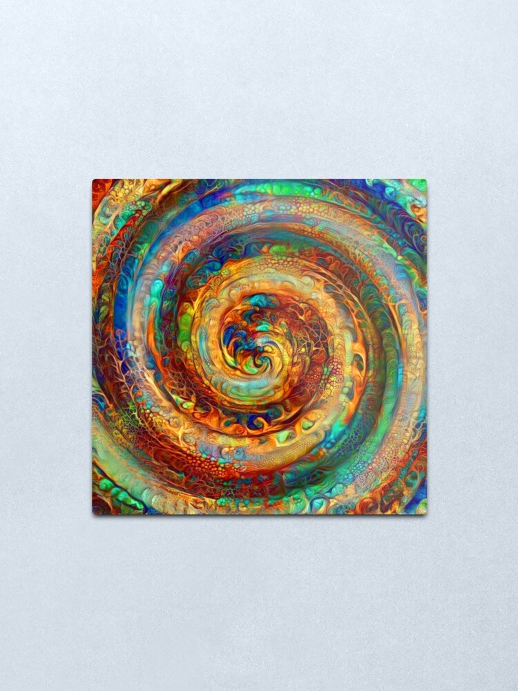Alternate view of Abstractions of abstract abstraction of colorful spiral Metal Print