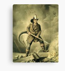 Old Fireman Illustration Canvas Print