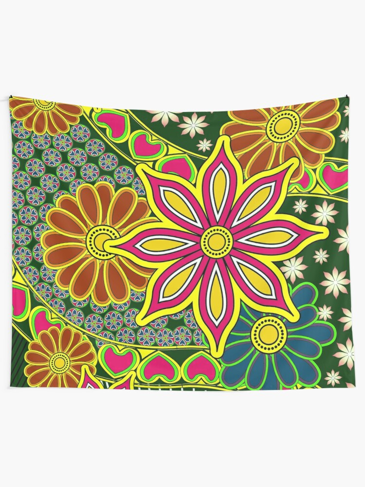Alternate view of Japanese Inspired Floral Decor Print Tapestry