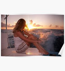 Glowing Sunrise. Greeting New Day  Poster