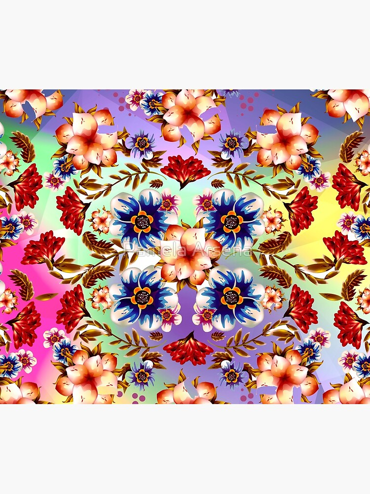 Psychedelic Hipster Flowers Fabric Print by xpressio