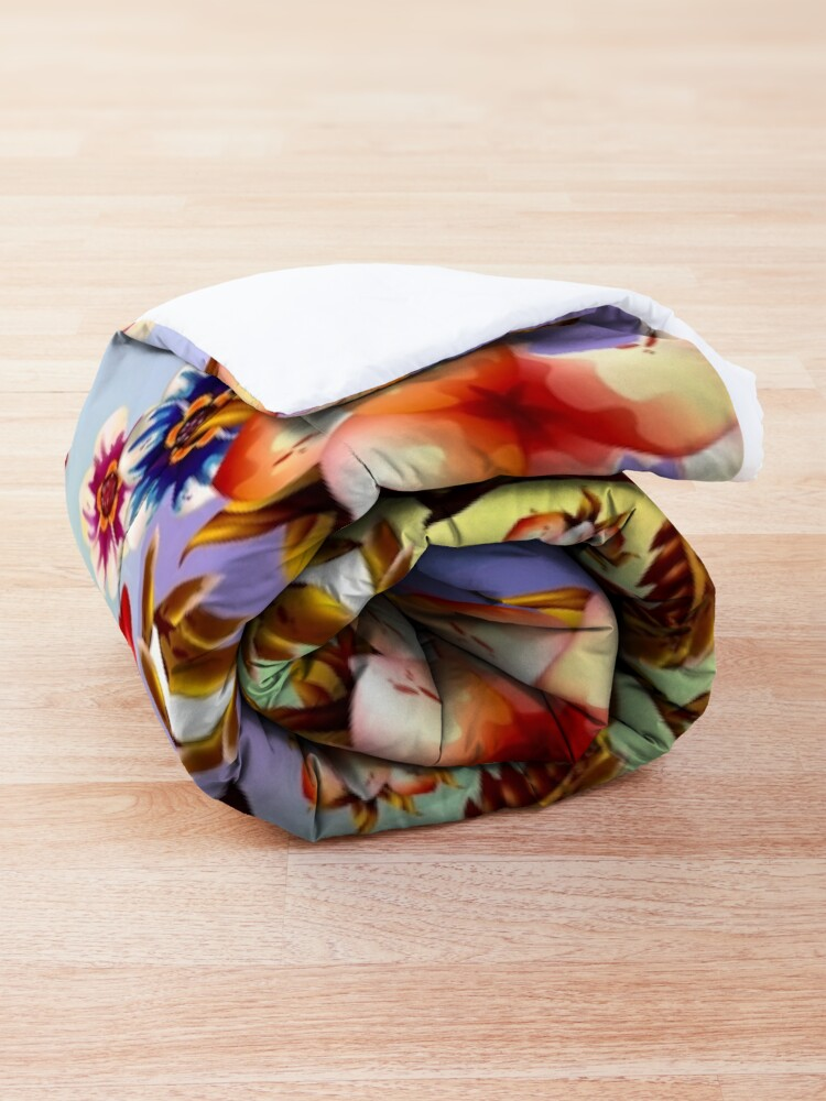 Alternate view of Psychedelic Hipster Flowers Fabric Print Comforter