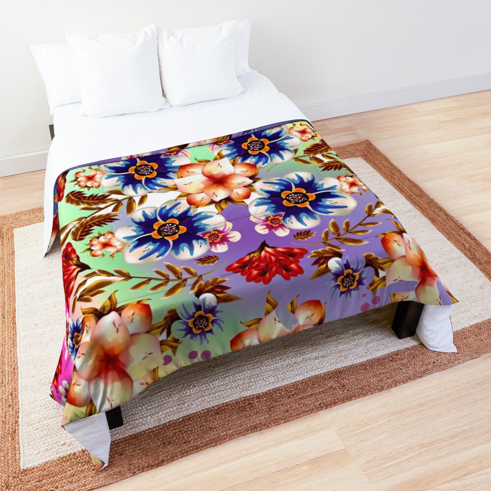 Psychedelic Hipster Flowers Fabric Print Comforter