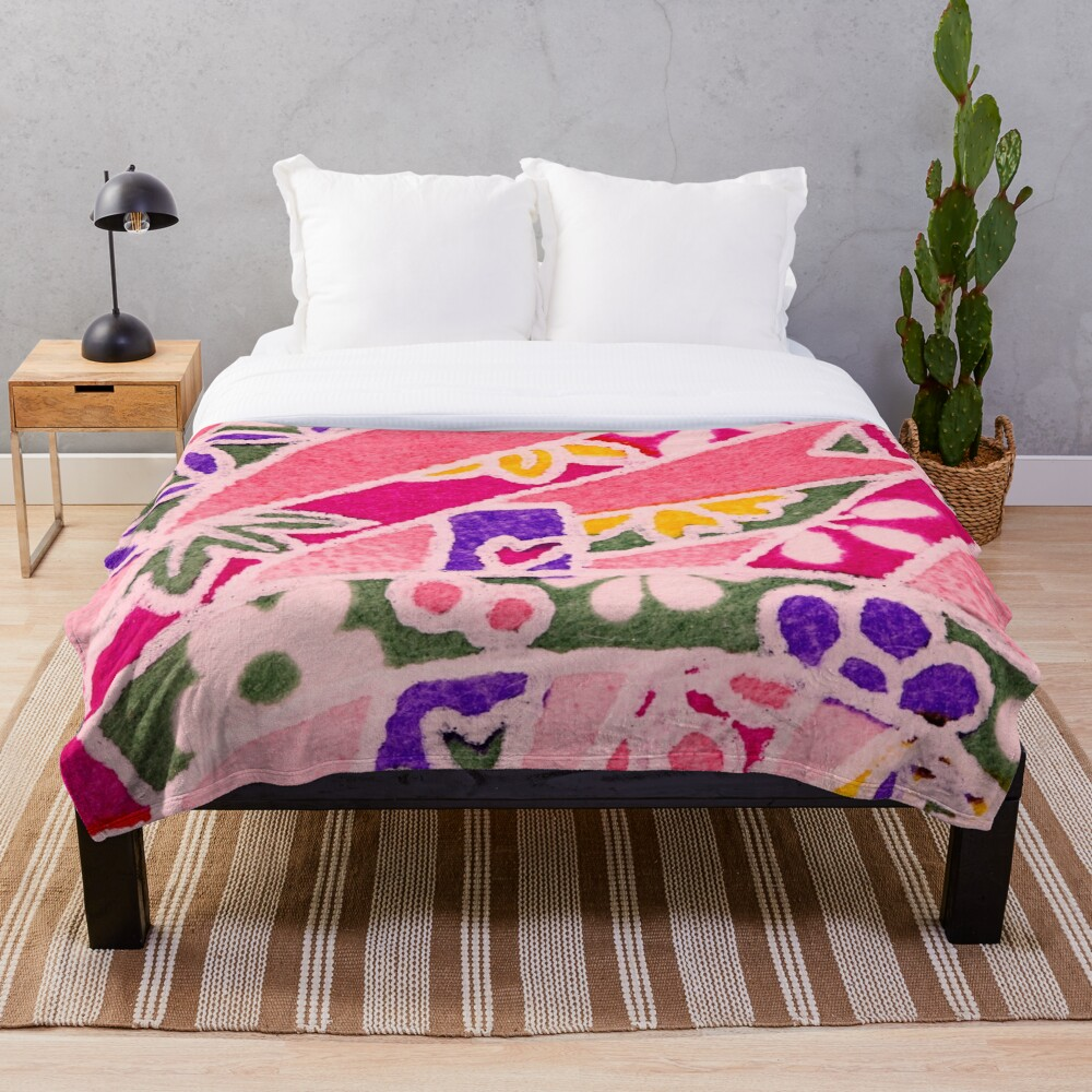 Cute Whimsical and Funky Art Deco Throw Blanket