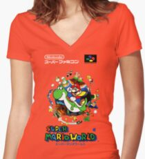 Super Mario World Nintendo Super Famicom Box Art Women's Fitted V-Neck T-Shirt