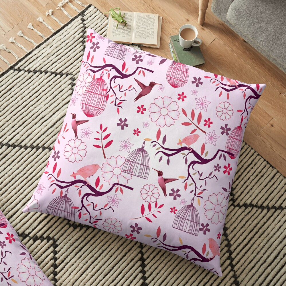 Red Birds of Paradise Fabric Print Floor Pillow