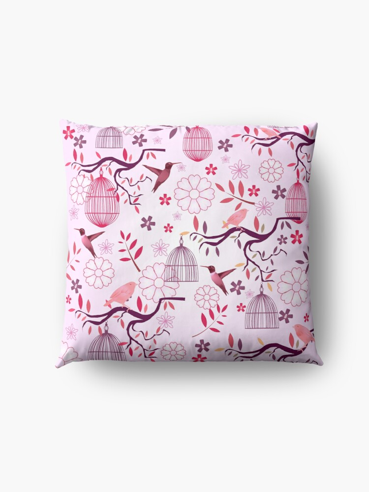 Alternate view of Red Birds of Paradise Fabric Print Floor Pillow