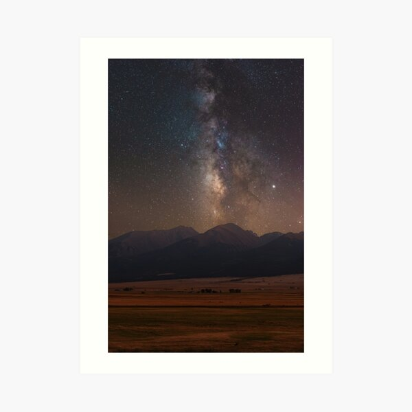Milky Way Over the Mountains Art Print