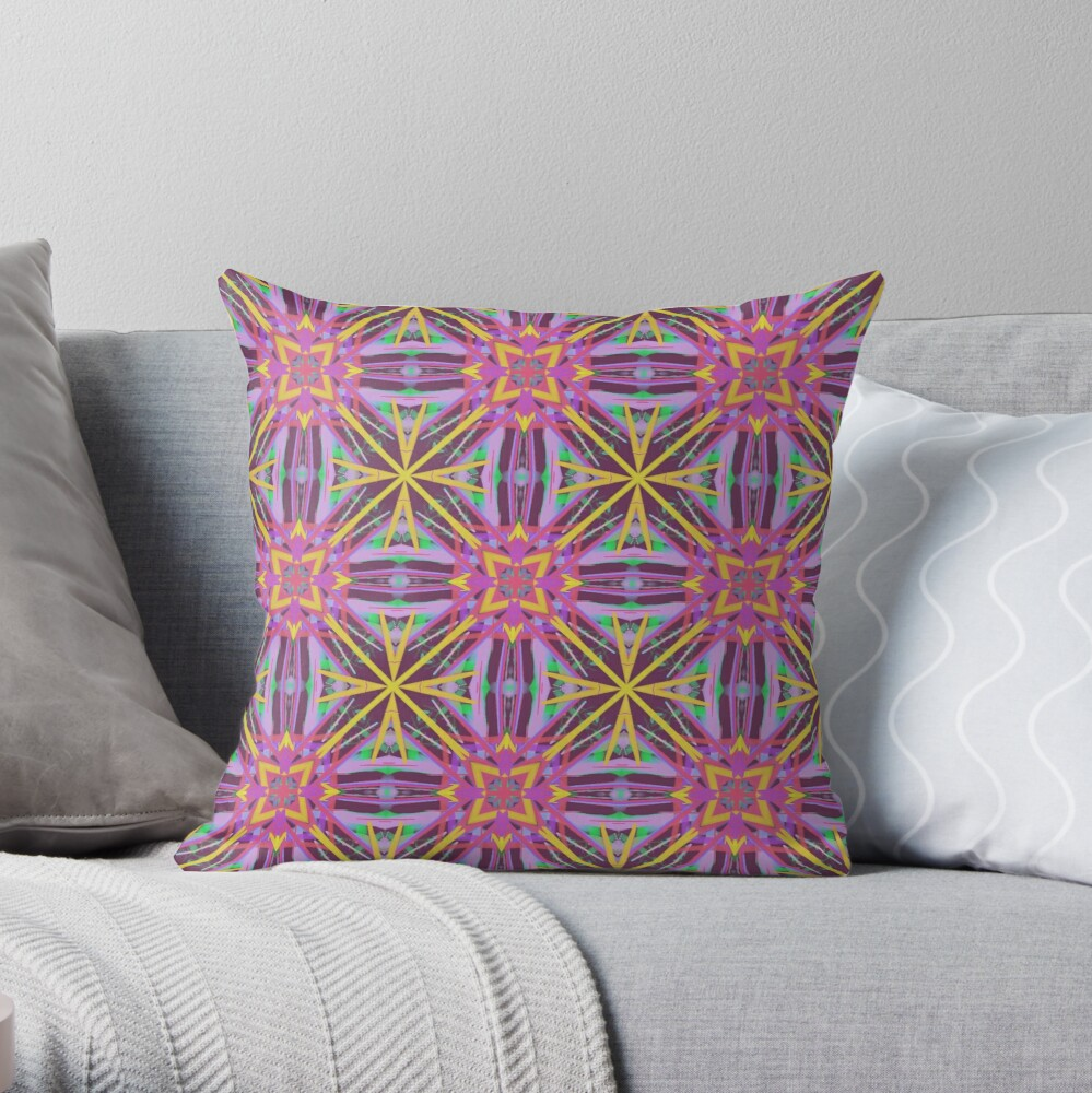 Girly Cute and Colorful Psychedelic Geometric Fabric Print Throw Pillow