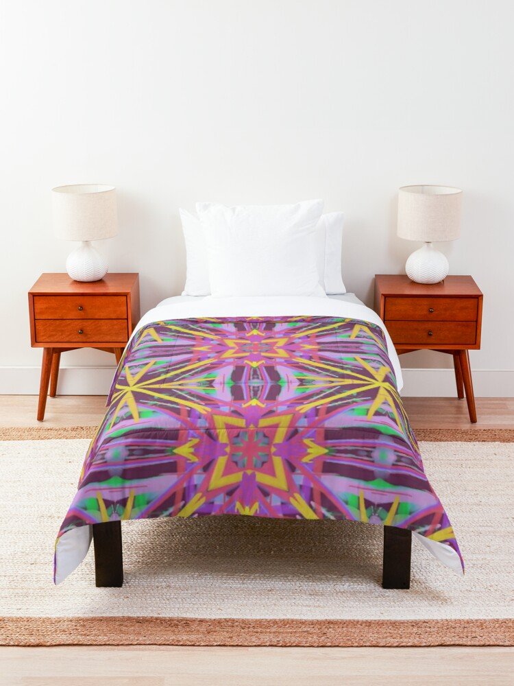 Alternate view of Psychedelic Geometric Fabric Print Comforter