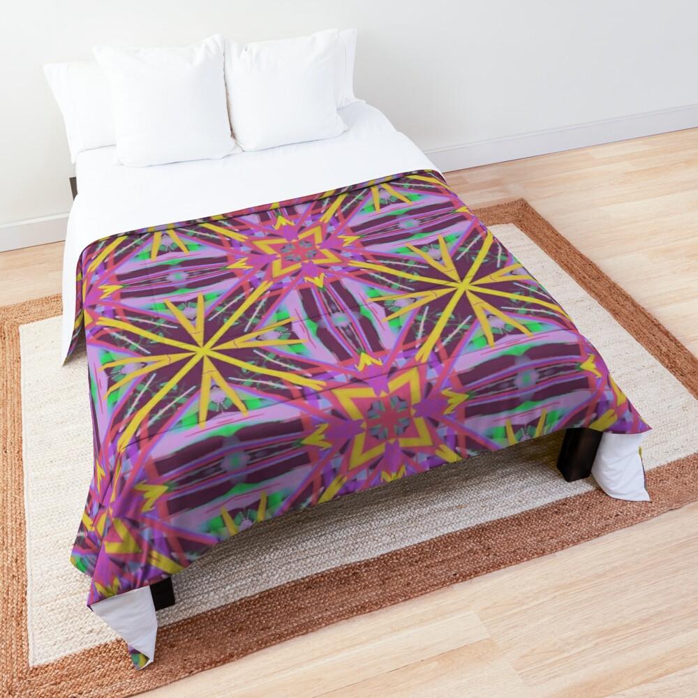 Psychedelic Geometric Fabric Print Comforter