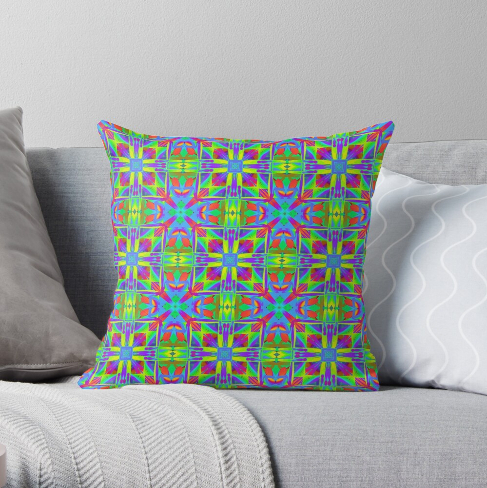 Cool Eclectic and Colorful Bohemian Sacred Geometry Print Throw Pillow