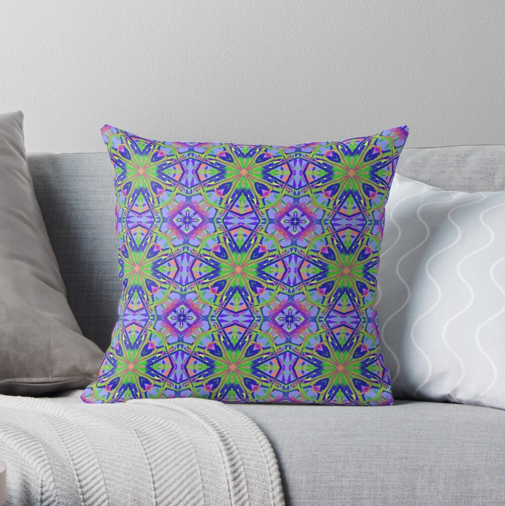 Bright and Colorful Psychedelic Kaleidoscope Throw Pillow