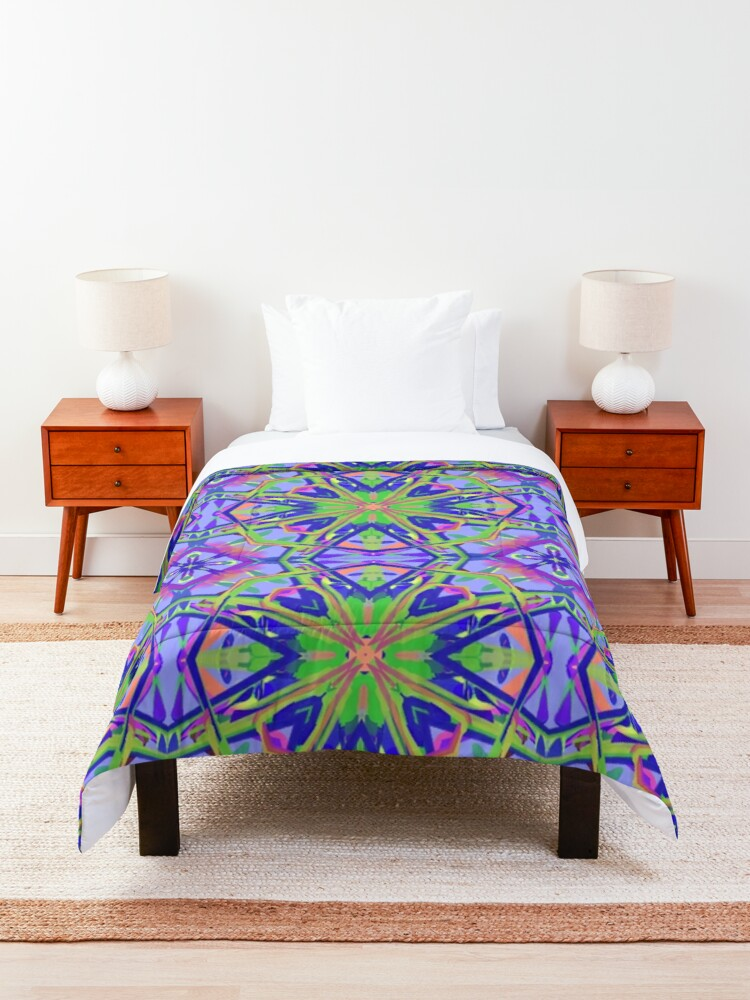 Alternate view of Psychedelic Mandala Kaleidoscope Fabric Print Comforter