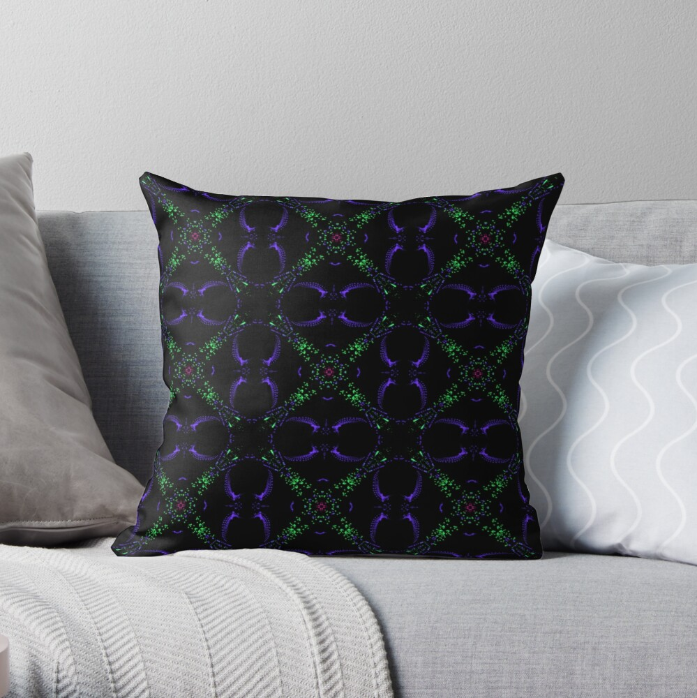 Cool Unique Abstract Purple and Green Throw Pillow
