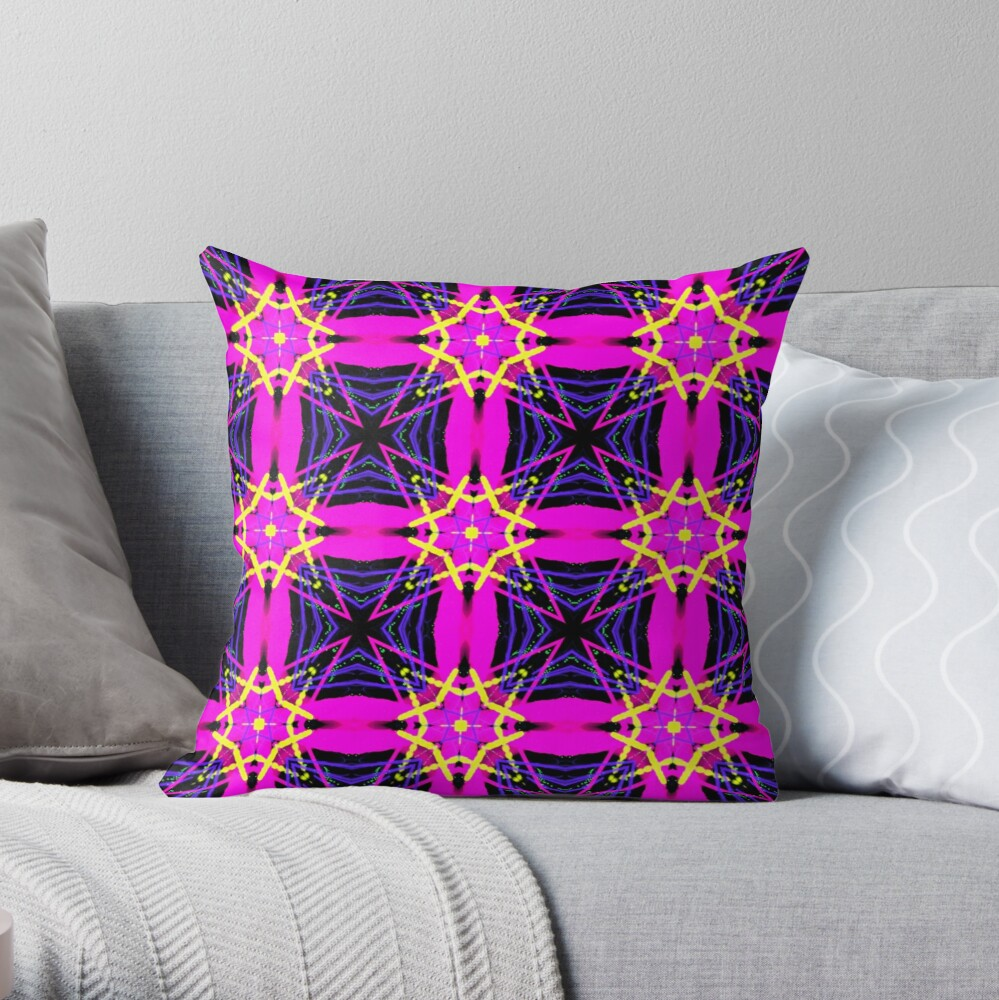 Funky and Bright Psychedelic Patchwork StripedThrow Pillow