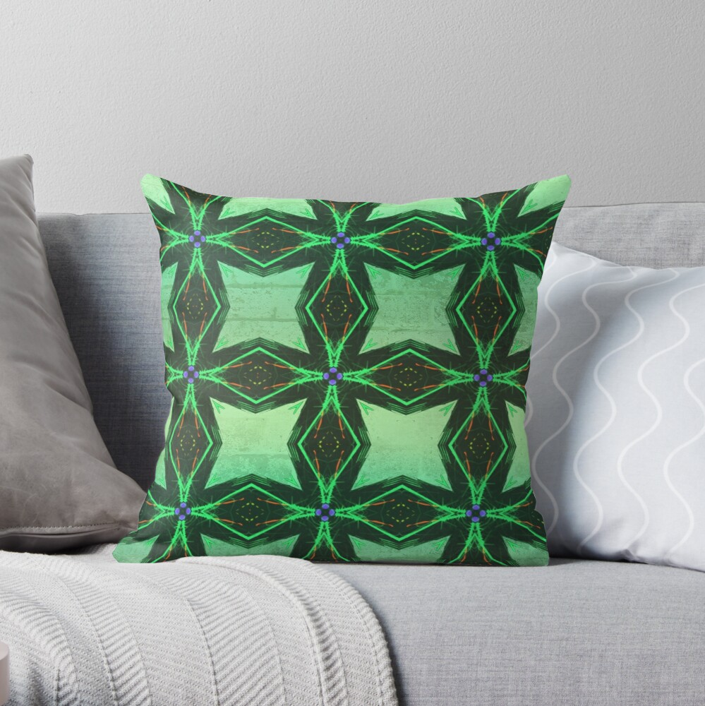 Cool and Chic Emerald Green with Envy Throw Pillow