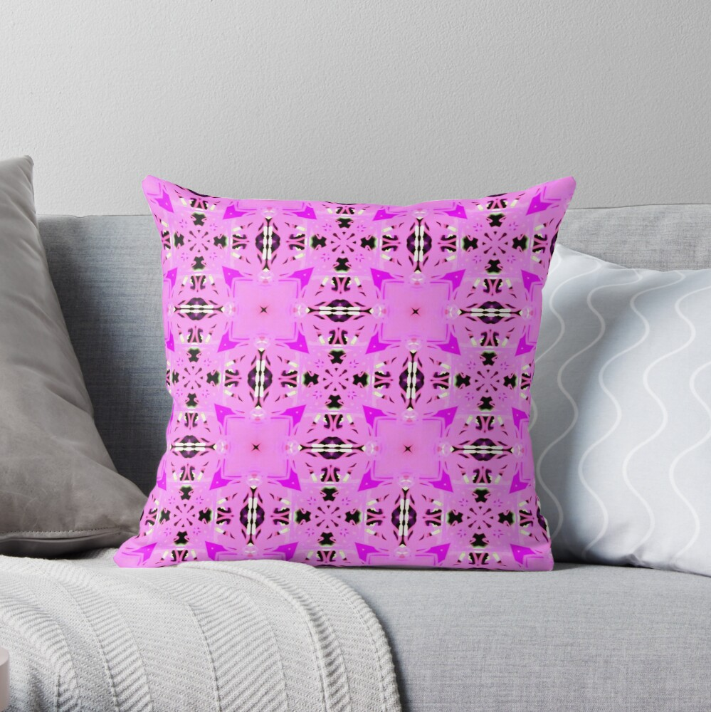 Cute Whimsical and Girly Patchwork kaleidoscopic Throw Pillow